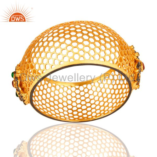 Cz traditional costume gold filigree design cuff bangle kada jewelry