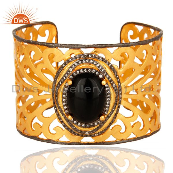Hand-crafted 18K Gold-Plated Brass Filigree Cuff Bracelet With Black Onyx & CZ