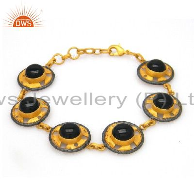 18K Yellow Gold Plated Brass Black Onyx Gemstone Designer Bracelet Jewelry