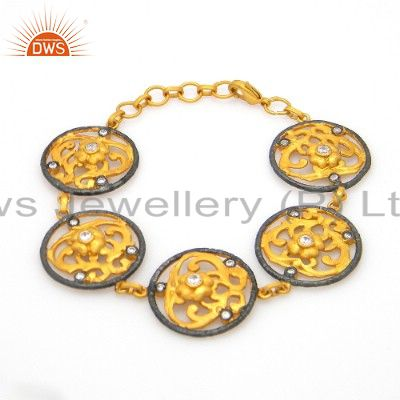 18K Yellow Gold Plated Brass White Cubic Zirconia Designer Bracelet Jewelry