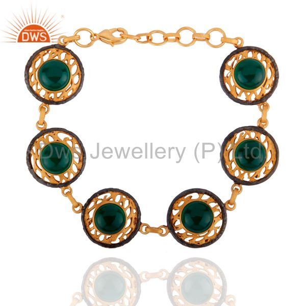 Natural semi precious stone green onyx 18k gold gp filigree bracelets