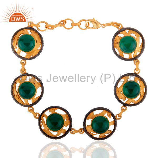 "Indian Handcrafted 24k Gold Plated Green Onyx Gemstone 8.50"" Bracelets"