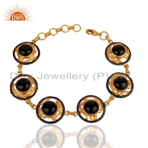 Natural Black Onyx Gemstone Gold Plated Brass Fashion Bracelet Jewelry