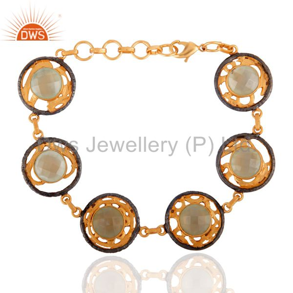 18k yellow gold plated brass faceted chalcedony gemstone bracelet