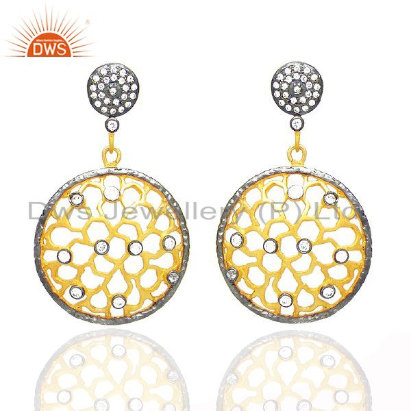 18K Yellow Gold Plated Brass Cubic Zirconia Filigree Designer Dangle Earrings
