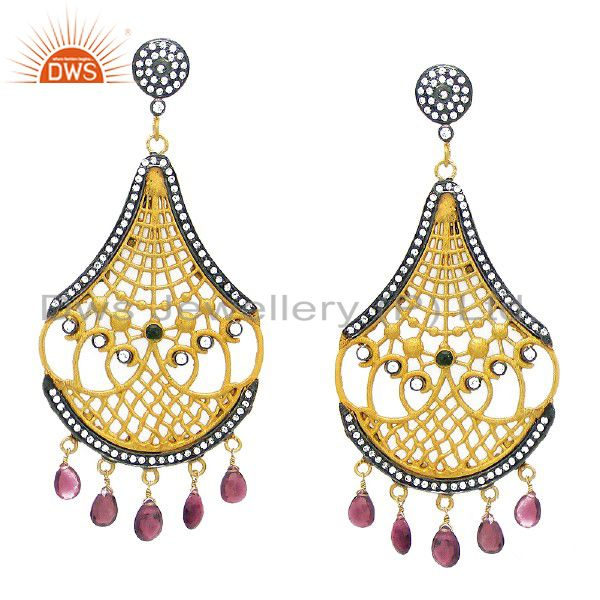 22K Yellow Gold Plated CZ And Pink Tourmaline Designer Chandelier Earrings
