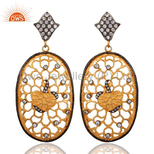 Handmade Gold Plated Cubic Zirconia Dangle Earring