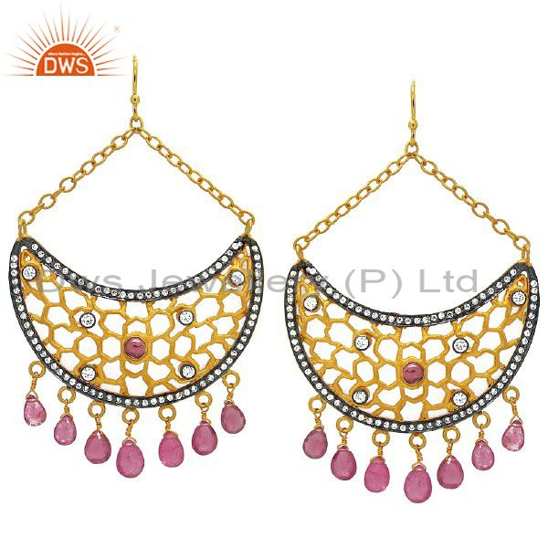 18K Yellow Gold Plated CZ And Pink Tourmaline Half Moon Chandelier Earrings