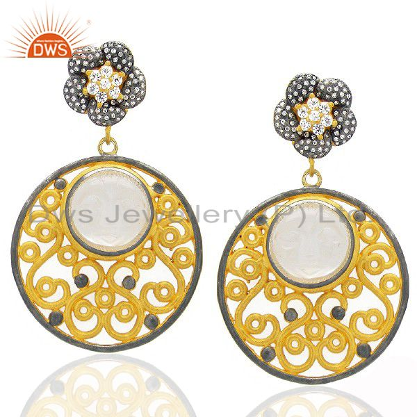 18K Yellow Gold Plated Rainbow Moonstone Designer Dangle Earrings With CZ
