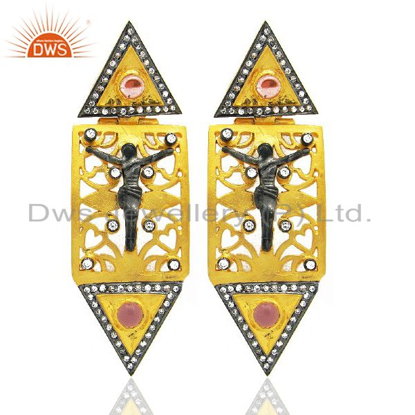 18K Yellow Gold Plated CZ And Pink Glass Jesus Christians Dangle Earrings