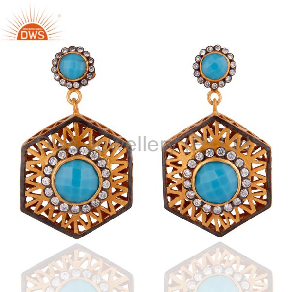 22K Yellow Gold Plated Brass Turquoise And CZ Unique Design Dangle Earrings