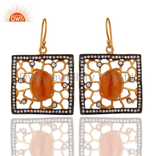 Peach Moonstone And Cubic Zirconia Handmade Designer Gold Plated Earrings