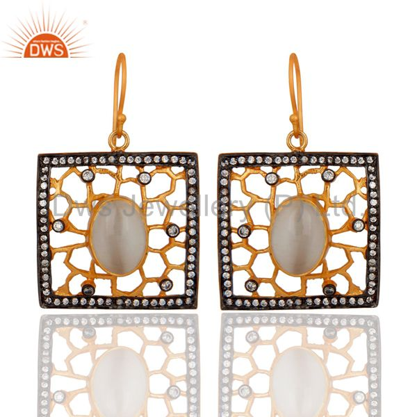 22K Yellow Gold Plated White Moonstone And Cubic Zirconia Designer Earrings