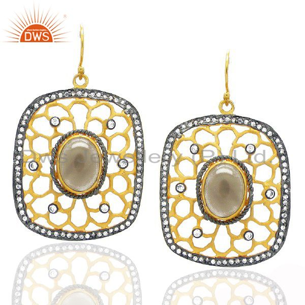 18K Yellow Gold Plated Brass CZ And Smoky Quartz Designer Dangle Earrings