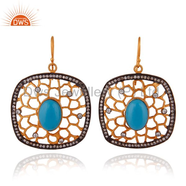 14K Yellow Gold Plated Over Brass Zircon & Turquoise Gemstone Designer Earrings