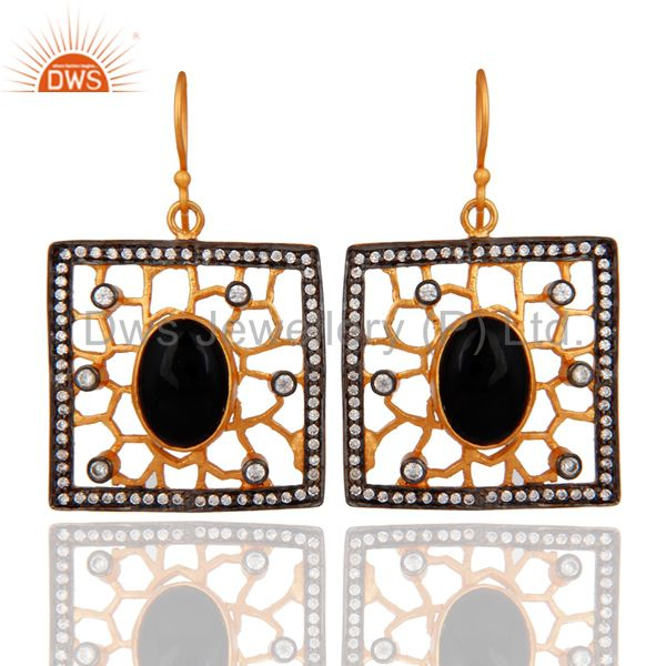 Handmade Black Onyx Designer Earring 24K Gold Plate White Zircon Fashion Jewelry