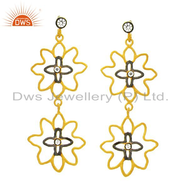 18K Yellow Gold Plated Brass CZ And Pearl Flower Designer Dangle Earrings