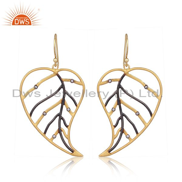 18K Yellow Gold Plated Cubic Zirconia Pan Leaf Design Dangle Brass Earring