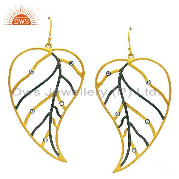 18K Yellow Gold Plated Sterling Silver Cubic Zirconia Leaf Design Dangle Earring