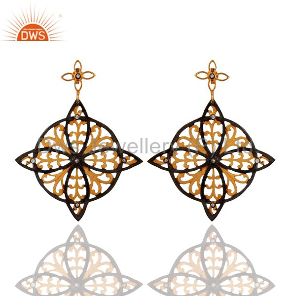 Ladies 22k Yellow Gold Plated Simulated Diamond Pave Handmade Dangle Earrings