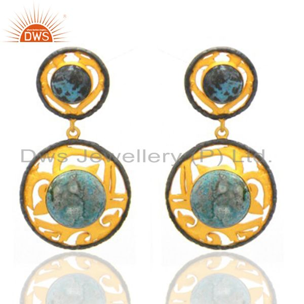 18K Yellow Gold Plated Brass Chrysocolla Gemstone Designer Dangle Earrings