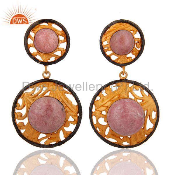 Rhodonite Gemstone 22k Yellow Gold Plated Dangle Earring Indian Fashion Jewelry