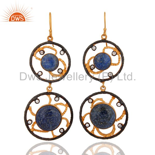 Natural Lapis Lazuli Gemstone And CZ Earrings In 18K GOld Over Brass