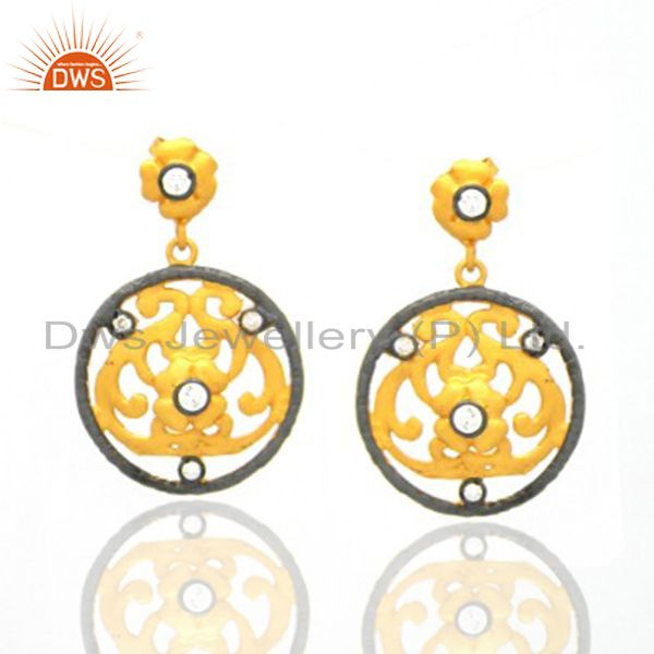 22K Yellow Gold Plated Brass White Zircon Filigree Dangle Earrings For Womens
