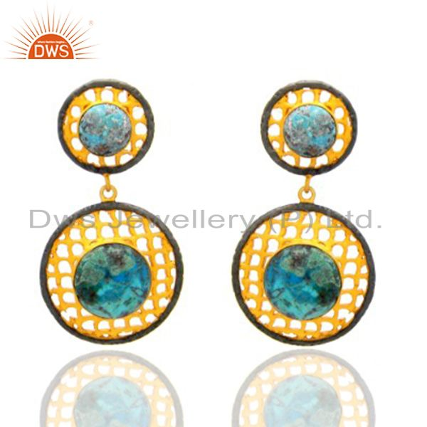 22K Yellow Gold Plated Brass Chrysocolla Filigree Dangle Earrings For Womens