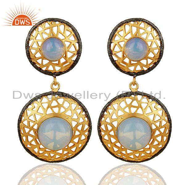 22K Yellow Gold Plated Brass Opalite Filigree Dangle Earrings For Womens