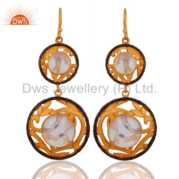 Women Fire Opal Jewelry Created Gemstone 18K Yellow Gold Plated Hook Earrings