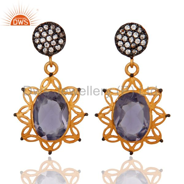 Handmade Hydro Iolite Gemstone 22K Yellow Gold Plated Dangle Earrings With CZ