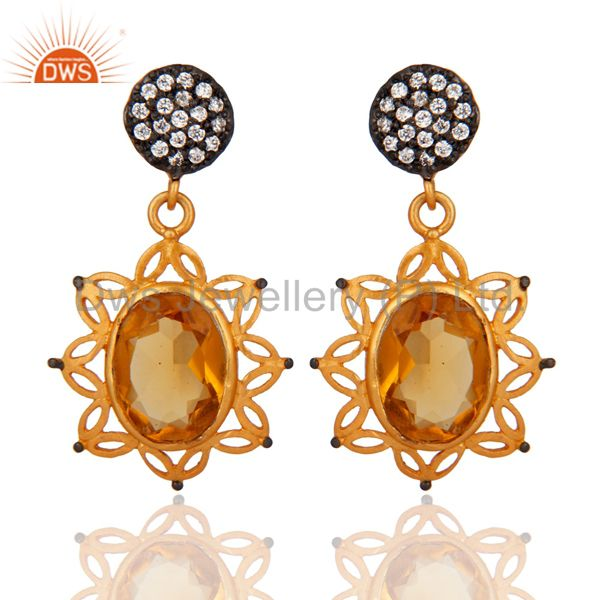 Hydro Citrine Gemstone Handcrafted 24K Gold Plated Gemstone Earrings With CZ