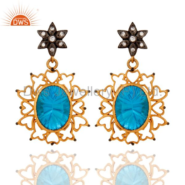 CZ & Lab-Created Blue Topaz Gemstone Gold Plated Handmade Heart Design Earring
