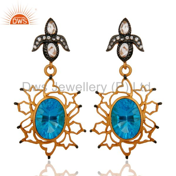 Handmade Synthetic Blue Topaz Gemstone & White Zircon 18k Gold Plated Earrings