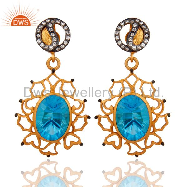 18K Yellow Gold Plated Hydro Blue Topaz And CZ Dangle Earrings