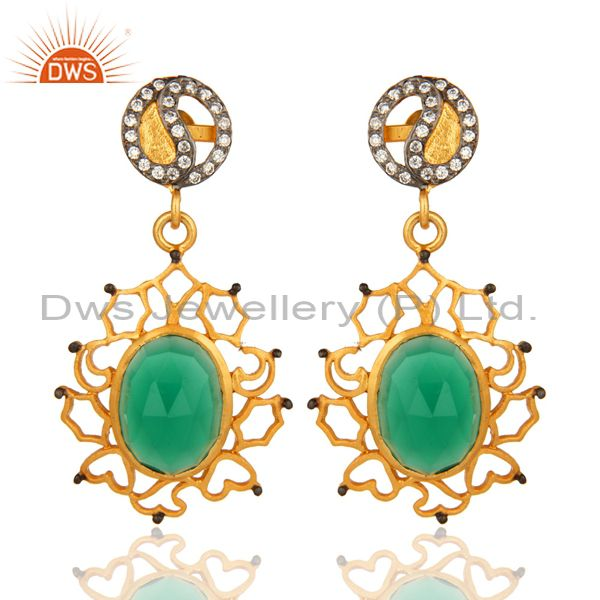 Handmade Faceted Green Onyx Yellow Gold Plated Earrings With CZ