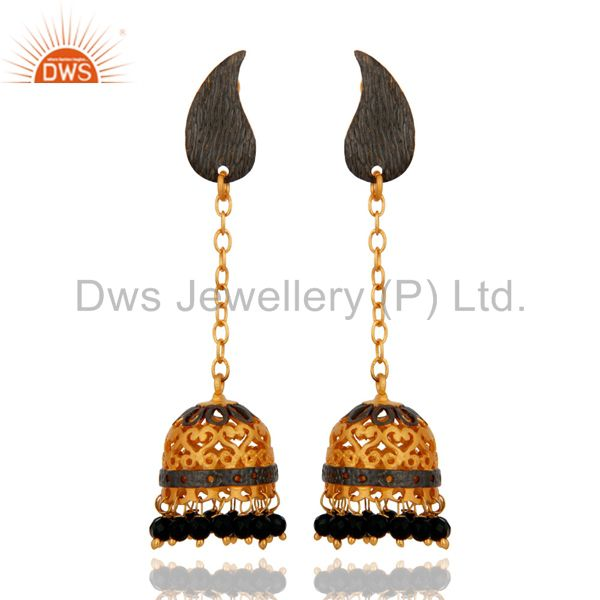 Antique 18K Gold Plated Natural Black Onyx Gemstone Beads Jhumka Hanging Earring