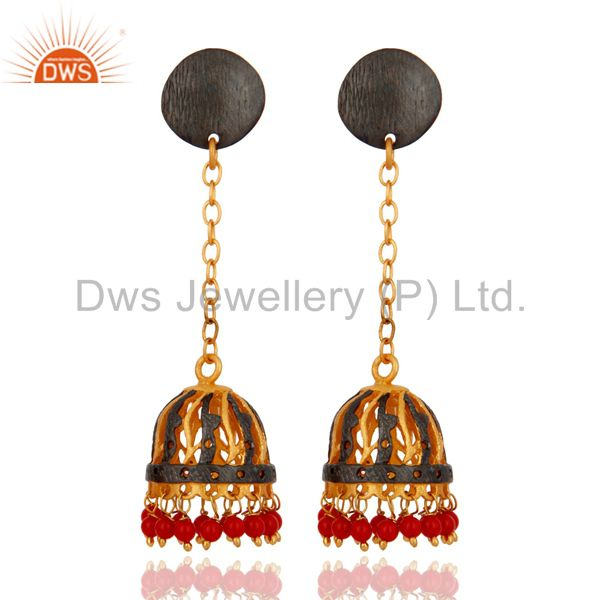 Handmade 18K Gold Plated Red Coral Gemstone Indian Designer Earrings For Women