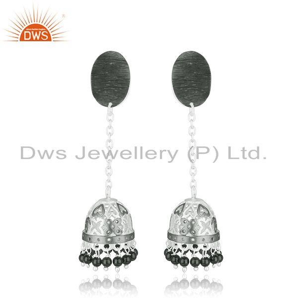 Handmade Brass Fashion Black Onyx Gemstone Jhumka Earrings Supplier Jaipur India