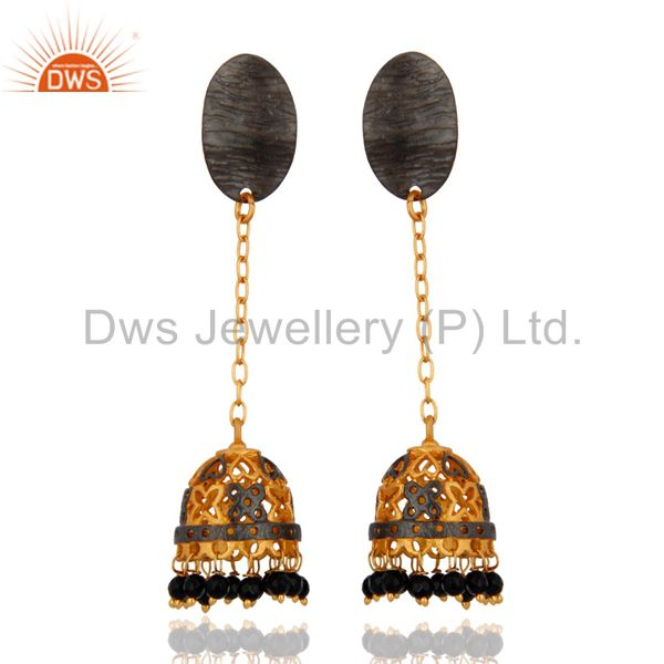 Indian Traditional Gold Plated Gemstone Ethnic Bollywood Dangler Jhumka Earrings