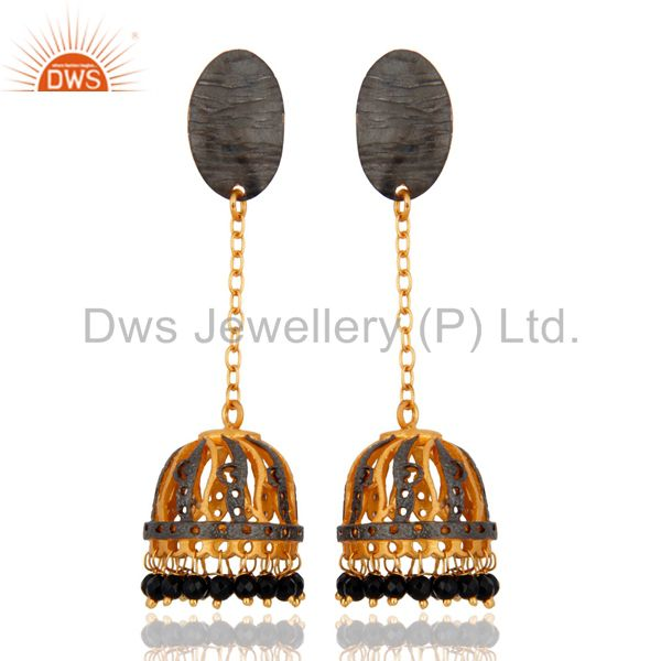 Black Onyx Gemstone Beads 18K Yellow Gold Plated Bollywood Jhumka Earrings-India