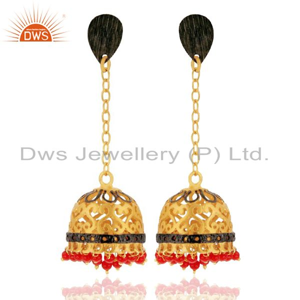 18K Yellow Gold Plated Red Coral Gemstone Indian Jhumka Dangle Earrings