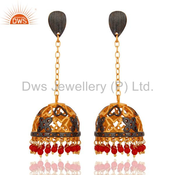 Red Coral Gemstone 18K Gold Plated Womens Earrings Designer Imitation Jewelry