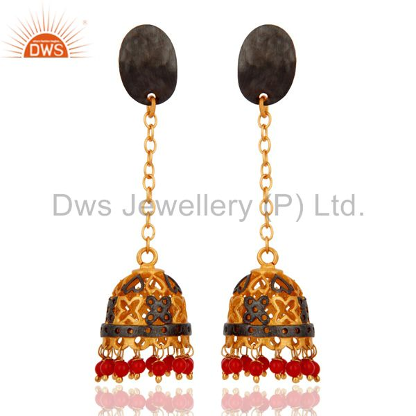 Red Coral Gemstone Jhumka Earrings Gold Plated Womens Imitation Jewelry