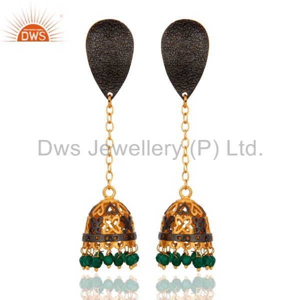 18K Yellow Gold Plated Green Onyx Gemstone Jhumka Design Earrings