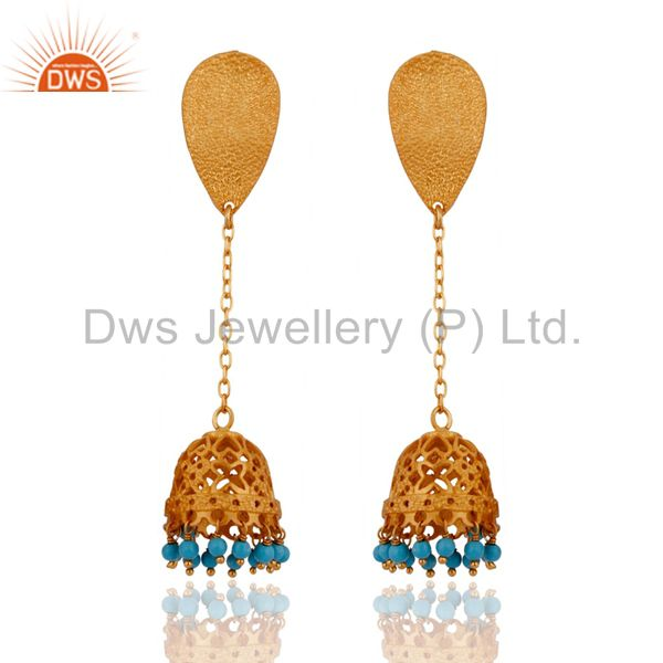 18k Gold Plated 925 Sterling Silver Turquoise Gemstone Beads Dangle Earrings