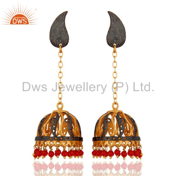 Indian Traditional Designer 18k Gold Yellow Gold Plated Red Coral Dangle Earring