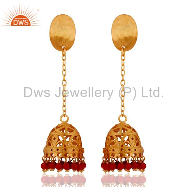 Handmade 925 Sterling Silver Red Coral Designer Earrings With 18k Gold Plated