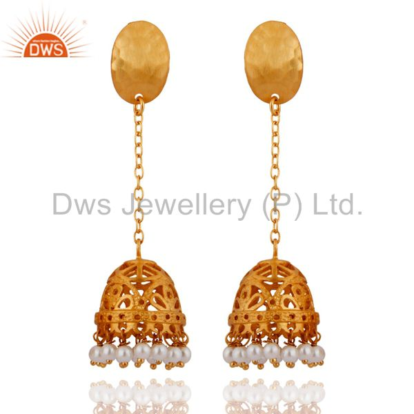 24K Gold Plated Sterling Silver Hammered Pearl Long Chain Drop Jhumka Earrings
